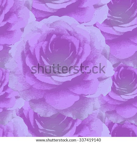 Violet roses. Seamless pattern with vintage violet roses. - stock photo