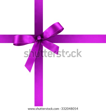 Violet Satin Gift Ribbon with Decorative Bow - Ornate Textile Decor - Isolated on White Background - For Christmas and Easter Season - Valentine and Mothers Day - stock photo
