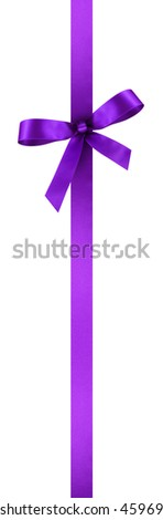 Violet Satin Gift Ribbon with Decorative Bow - Vertical Banner Illustration Isolated on White Background - stock photo