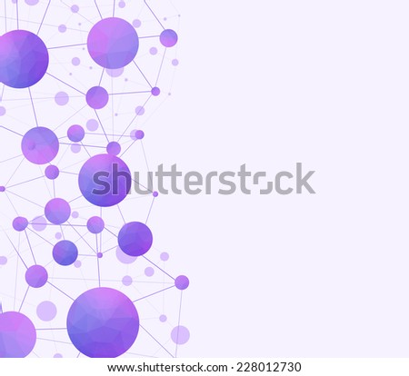 Violet scientific background with molecules