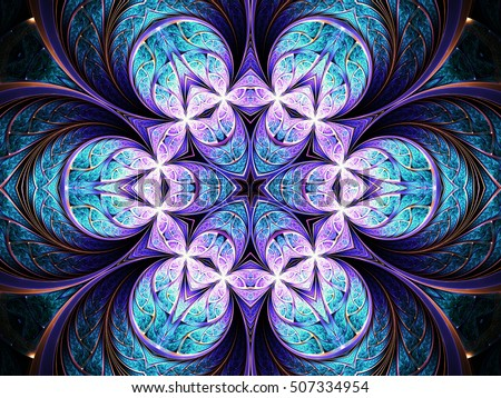 Violet seamless fractal mandala, digital artwork for creative graphic design