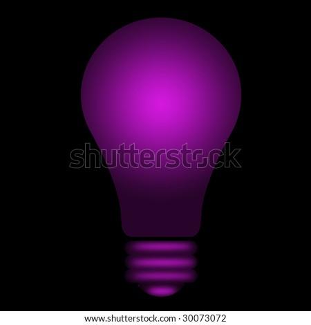 violet shining lightbulb - stock photo