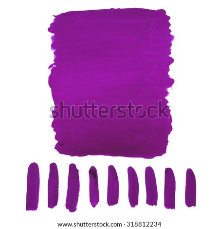 Violet spots are drawn by hand with watercolor
