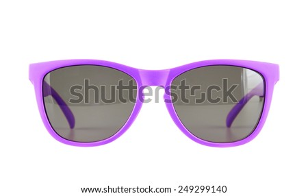 Violet sun glasses isolated over the white background - stock photo