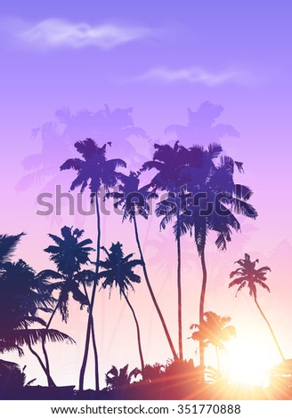 Violet sunrise palms silhouettes poster background - stock photo