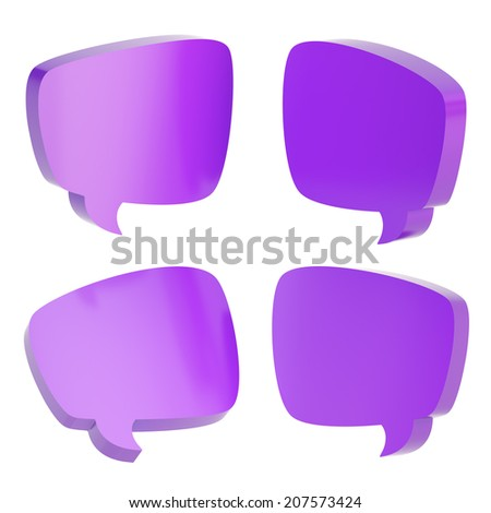Violet text bubble dimensional shapes isolated over the white background, set of four foreshortenings - stock photo