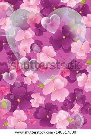 Violet Valentine Background With Flowers And Heart