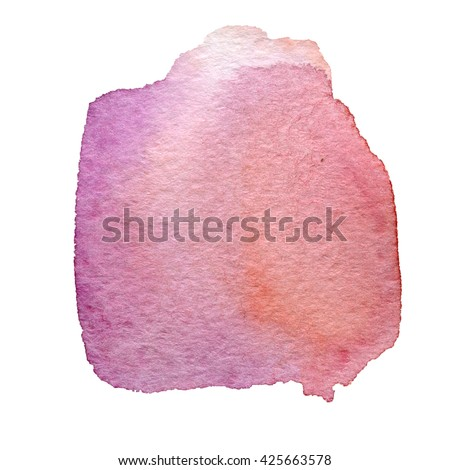 violet watercolor hand painted background isolated on white - stock photo
