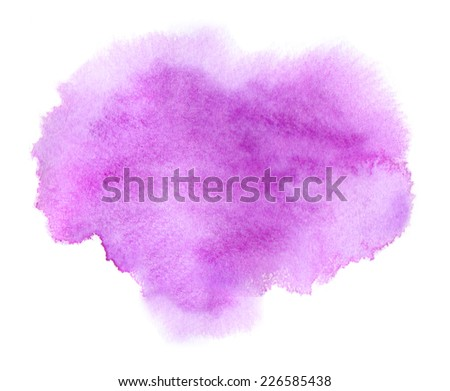 Violet watercolor or ink stain with water colour paint blotch - stock photo