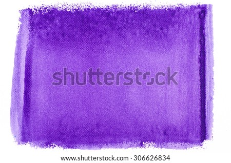 violet watercolor painted texture on white paper background - stock photo