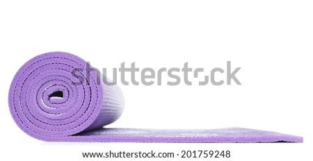 Violet Yoga Floor Mat in White background - stock photo