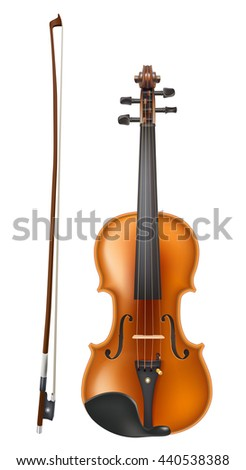 violin and a bow. raster - stock photo