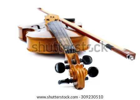 Violin and bow isolated on a white background. - stock photo