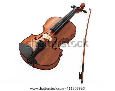 Violin and bow isolated on white background.3D illustration