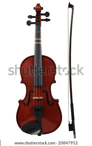 Violin and bow isolated over a white background with path - stock photo