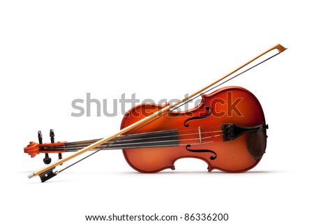 Violin and bow on white background - stock photo