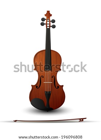 Violin and bow over white background - stock photo