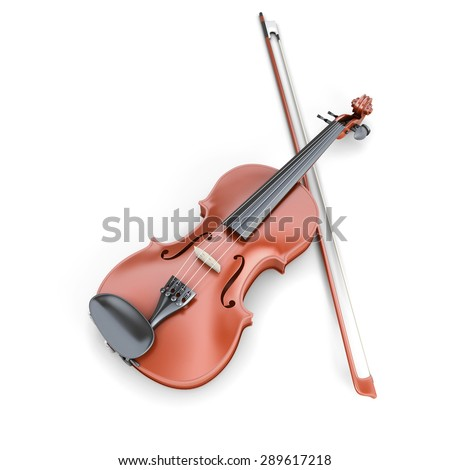 Violin and fiddlestick isolated on white background. 3d render image. - stock photo