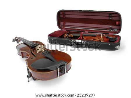 violin and instrument in violin case
