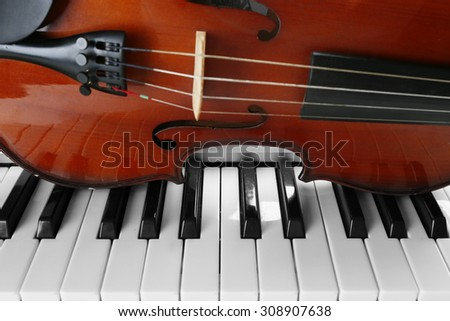 Violin and piano close up