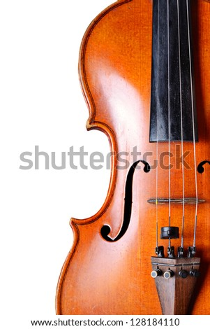 Violin close-up on white background