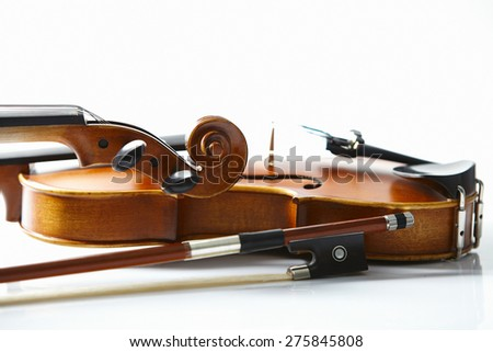 Violin close-up on white background - stock photo