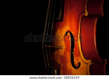 violin detail silhouette - stock photo