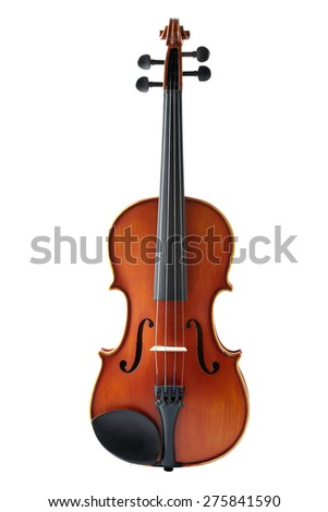 Violin front view isolated on white background