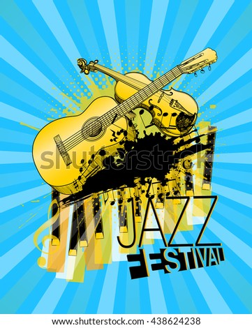 violin, guitar and piano jazz festival poster. raster illustration - stock photo