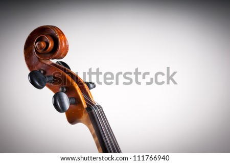 Violin head   on gray white background - abstract music concept - stock photo