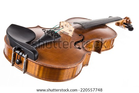 violin in vintage style on white background - stock photo