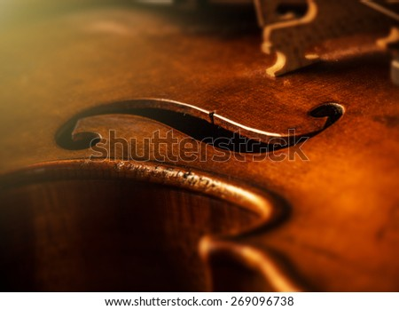 violin in vintage style on wood background - stock photo