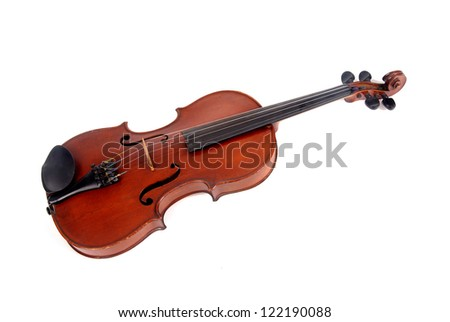 violin isolated in white - stock photo