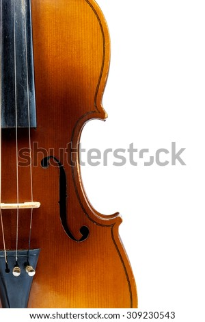 Violin isolated on a white background.