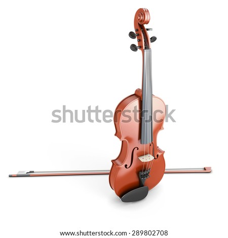 Violin isolated on white background. 3d render image. - stock photo