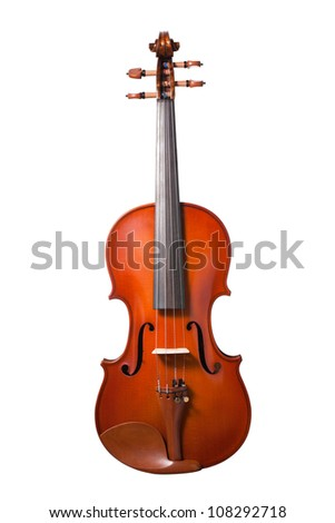 Violin isolated on white background. with clipping path - stock photo
