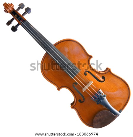 Violin Isolated with Clipping path on White Background - stock photo
