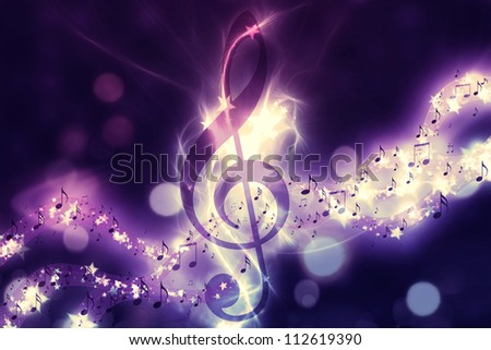 Violin key, music note symbol. Surreal music background - stock photo