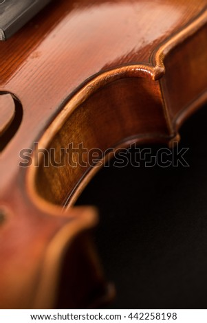 violin macro with black background