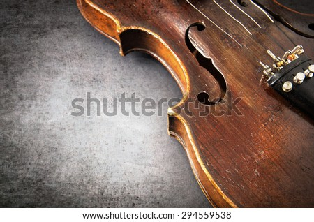 Violin music instrument of orchestra closeup - stock photo