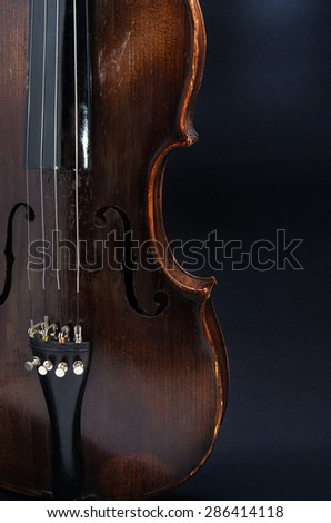 Violin music instrument of orchestra closeup isolated on black