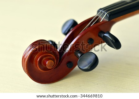 Violin music wooden instrument with metal strings.