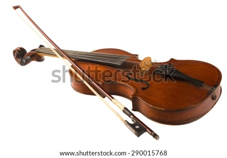 Violin, Musical Instrument, Isolated. - stock photo