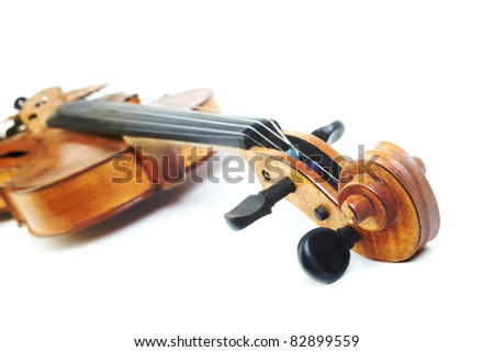Violin musical instrument orchestra. Classical violin isolated on white background