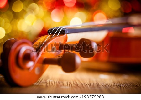Violin on  bokeh background - stock photo