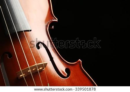 Violin on dark background - stock photo