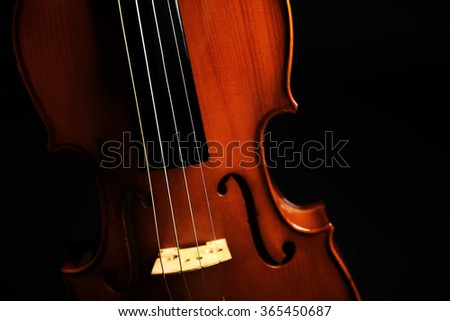 Violin on dark background