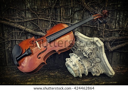 Violin on Wooden Shelf with Roman Column