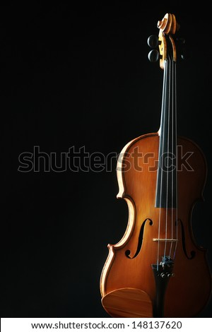 Violin orchestra musical instrument isolated on black - stock photo