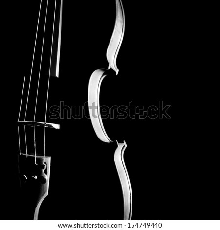 Violin orchestra silhouette musical instrument in black and white - stock photo